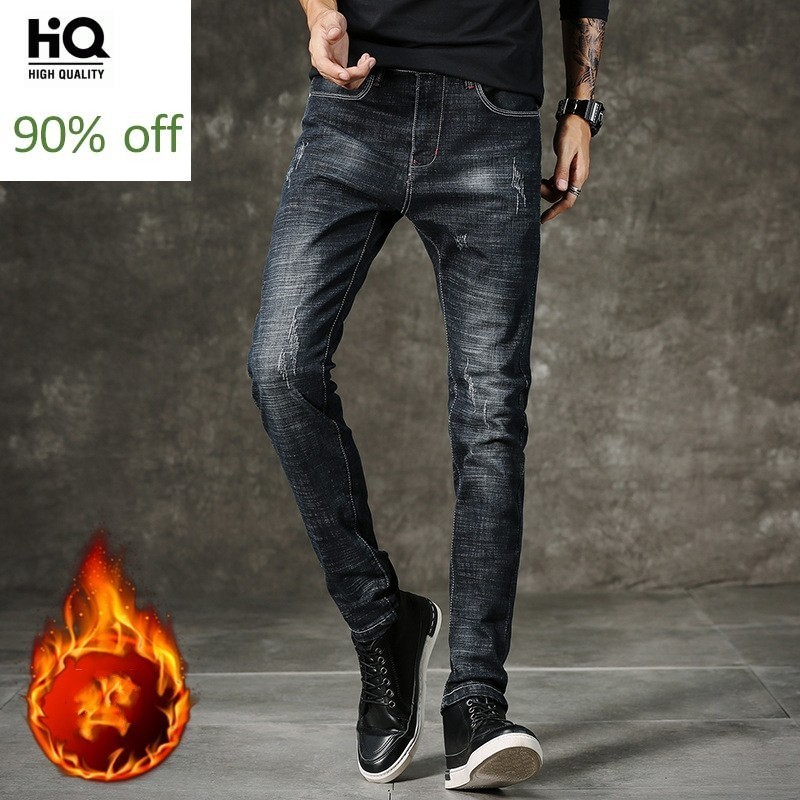 2020 New Korean Style Fashion Casual Men Jeans Pants High Quality Full Length Denim Jean Slim Warm Fleece Trousers Male Clothes