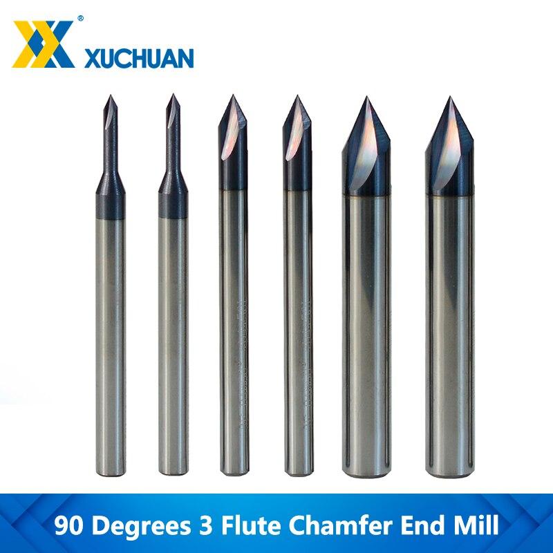 Mèche de routeur à 3 cannelures, 60 degrés, CNC 2-12mm pour outils de coupe en cuivre Aluminium, carbure de tungstène, mèche de routeur à gravure