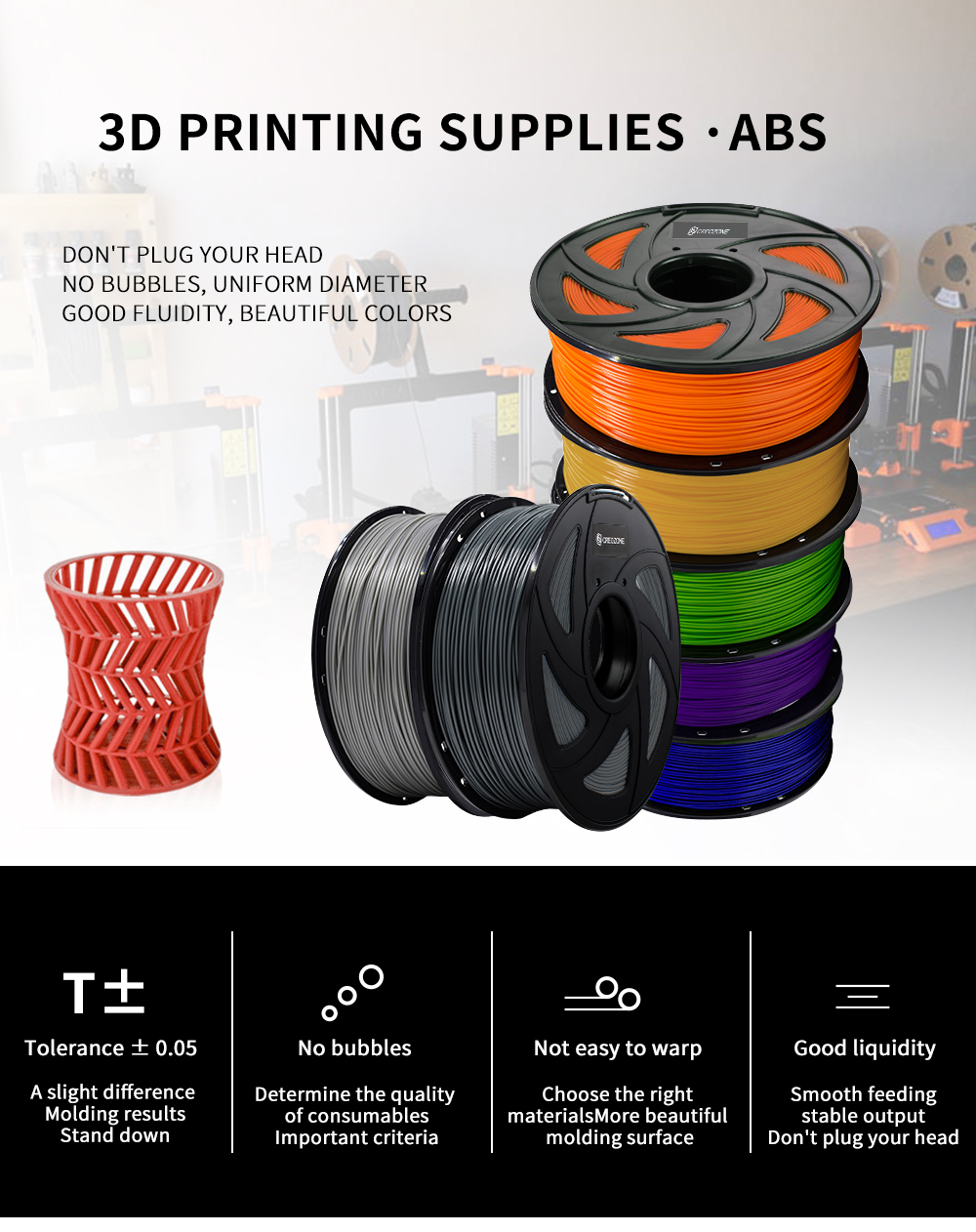 CREOZONE ABS/PLA/TPU/Wood/ Carbon Fiber/PETG/Nylon/PC/Metal 3D Printer Filament