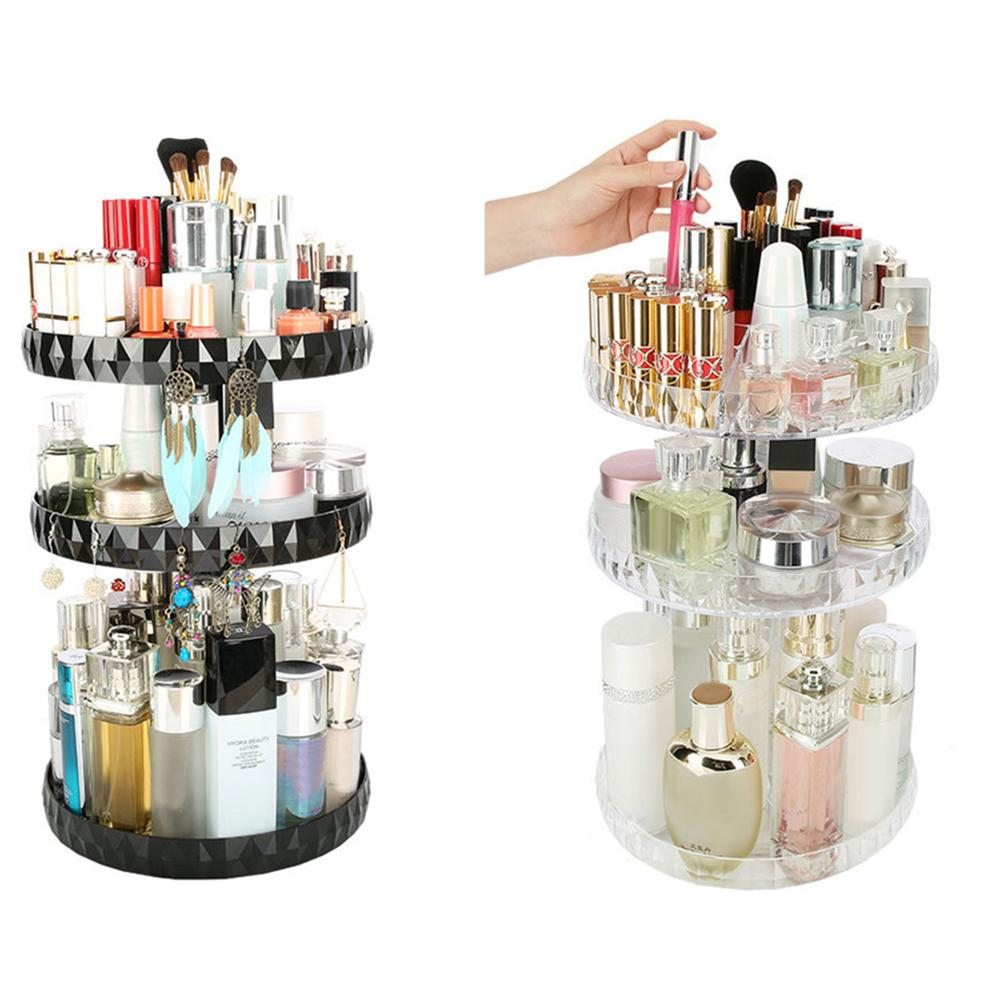 360° Rotating Makeup Organizer Cosmetics Brush Eyebrow Jewelry Perfumes Storage Display Stand Bottle Holder Rack Shelves Bathroo