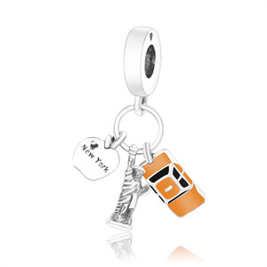 Оригинальный браслет Pandora, бусины из стерлингового серебра 925, Очаровательная Статуя Свободы, автомобиль, яблоко, Нью-Йорк, кулон, сделай сам
