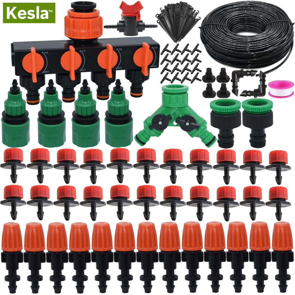 KESLA 5M-35M Micro Drip Irrigation Watering Kit Automatic Garden Lawn Greenhouse Irrigation System & Adjustable Dripper Atomizer