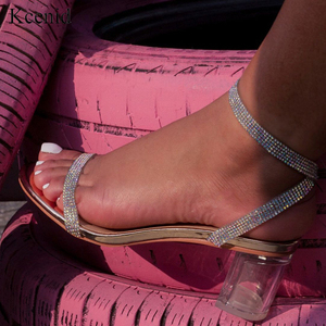Image 1 - Kcenid Elegant rhinestone sandals women transparent bling crystal shoes ankle buckle strap dress shoes woman clear heel sandals