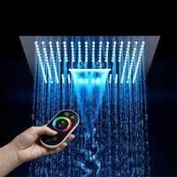 HIDEEP Bathroom LED Shower Head 16 Inch Remote Control Light 64 Color Rain Led Showerheads Misty Waterfall Shower Ceiling