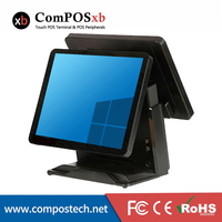 Brand New 15'' All In One Touch Screen Pos/ Pos System All In One Pc Cash Register Terminal Point Of Sale With Double Screen