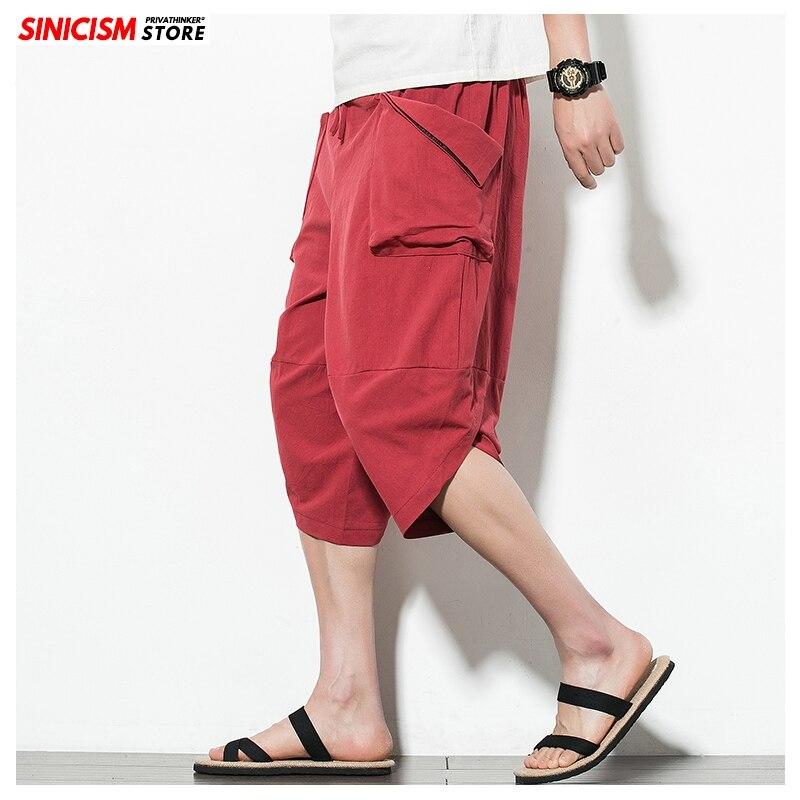 Sinicism Store Japanese Cotton Linen Harem Pants For Men Solid Color Wide Leg Man Casual Calf-length Pants 2020 Male Clothes
