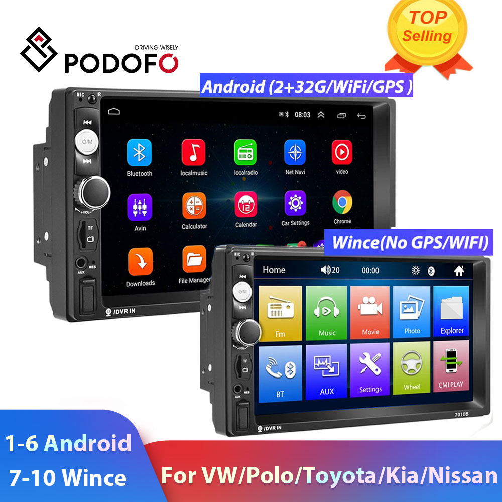"Podofo 2 Din Car radio Multimedia Video Player 2 din 7"" Wince / Android with GPS Wifi Autoradio for Universal VW Toyota Hyundai(China)"