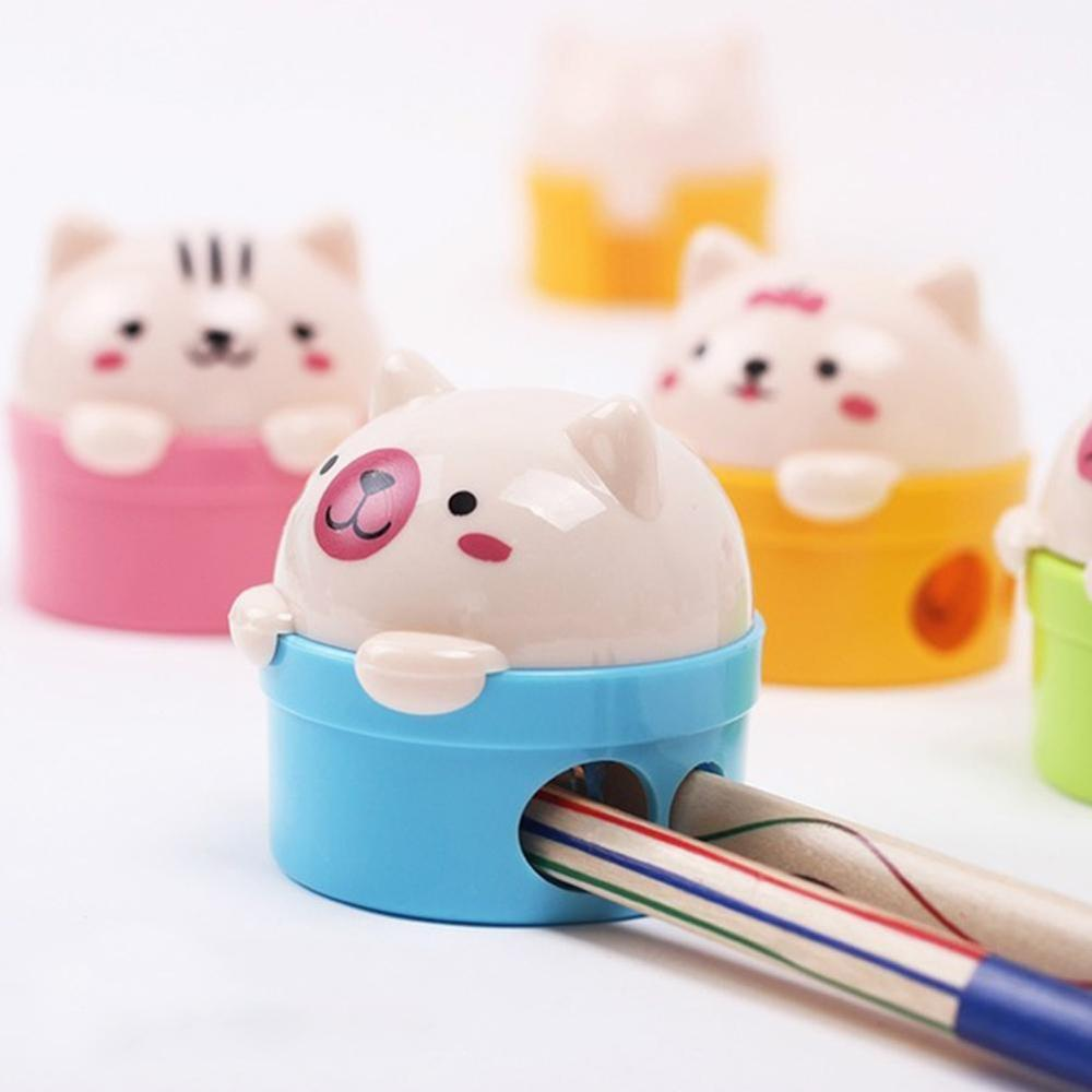 1pcs Stationery Double Holes Pencil Sharpener Cartoon Cat and Bear Plastic Pencil Sharpener For Kids Student School