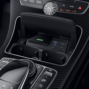 Image 2 - 10W auto QI drahtlose ladegerät handy ladegerät lade fall zubehör für Mercedes Benz W205 AMG C43 C63 GLC43 GLC63 x253 C Klasse