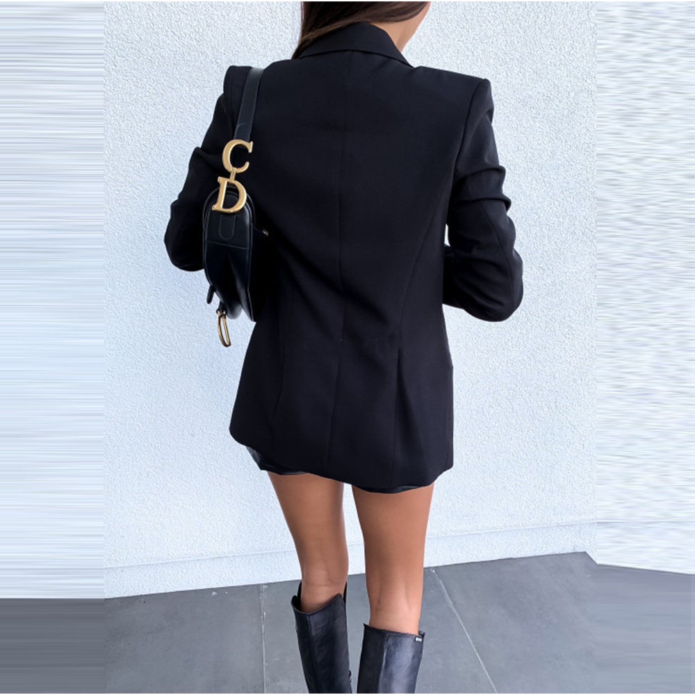 Fashion Pure Color Long Sleeve Blazer Women 2019 Autumn Winter Casual Double-Breasted Buttons Office Work Suit Coat Blazer Tops