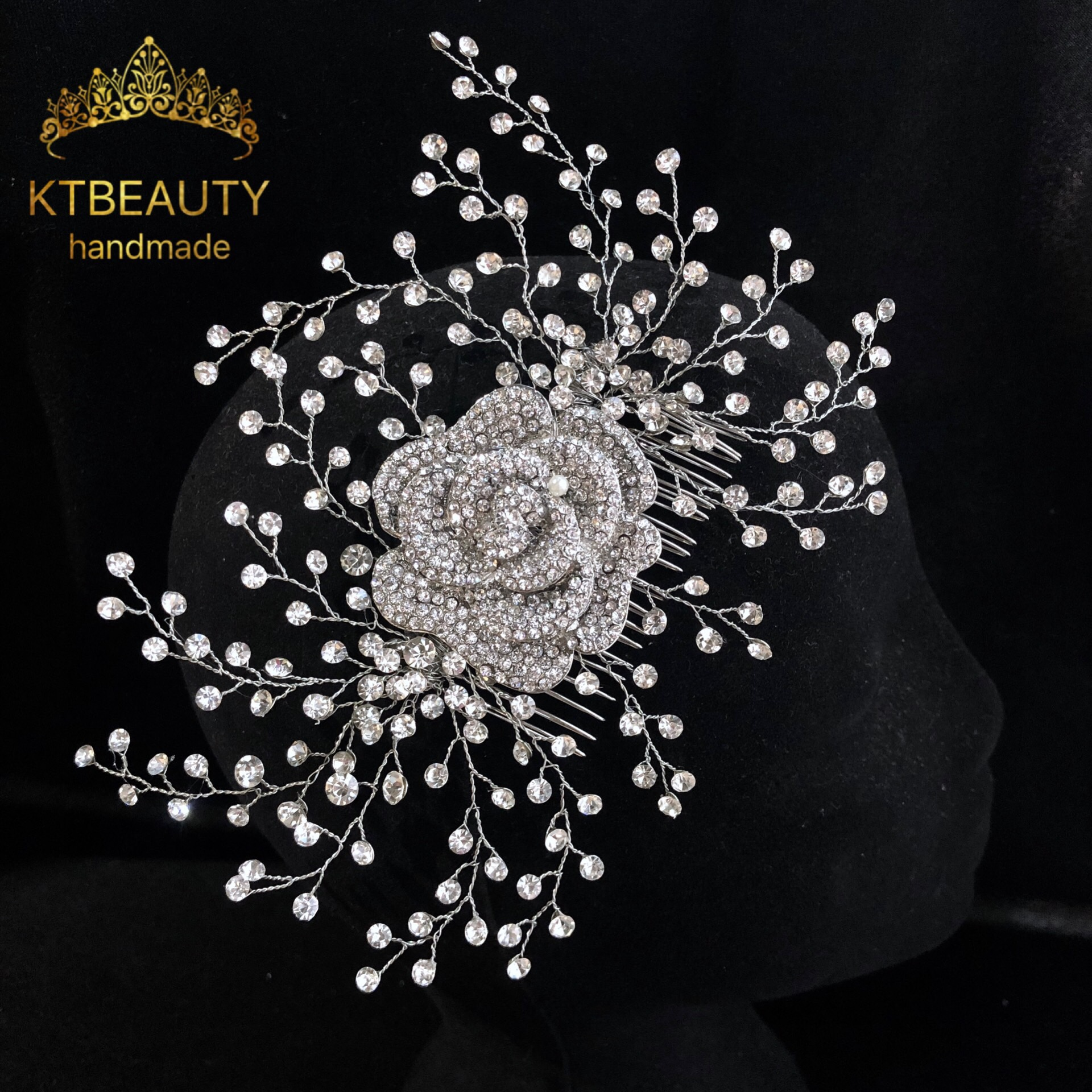 New Rhinestone Silver/Gold Custom Made Flowers Comb Lucury Handmade Headpiece Royal Bridal Crown Accessory Women Jewelry