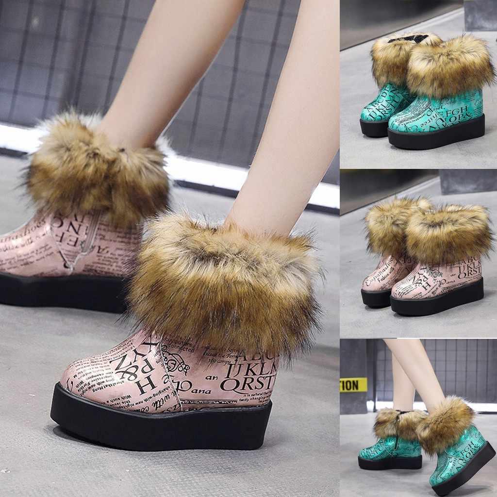 Botas de plataforma de invierno de piel para mujer botas de nieve de fondo grueso de moda botas de felpa cálido más zapatos de algodón de terciopelo mujer Otoño Invierno botines