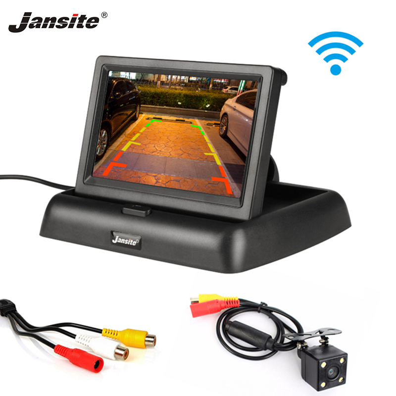 Jansite <font><b>4.3</b></font> <font><b>inch</b></font> HD car <font><b>monitor</b></font> Wireless parking assist system Reverse image Folding design Sedan RV 12V REAR VIEW image