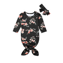 Ночные рубашки для новорожденных девочек и мальчиков, одежда для сна, детский спальный мешок+ повязка на голову, детская черная осенняя одежда с цветочным рисунком