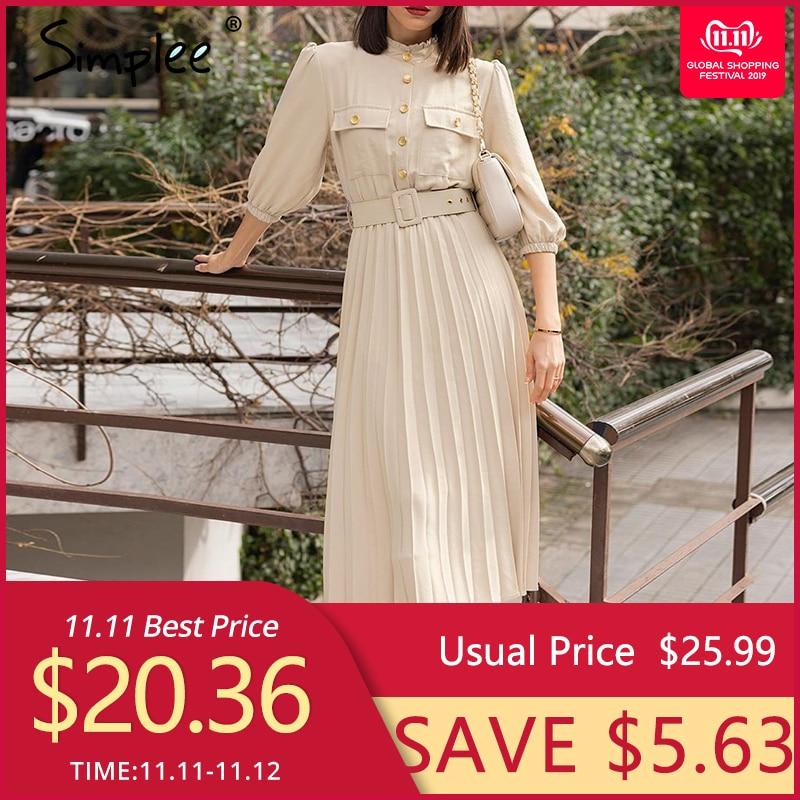 Simplee A-line urlaub weibliche midi kleid Rüschen drei viertel sleeve plissee kleid Elegante gürtel büro damen tasche kleid