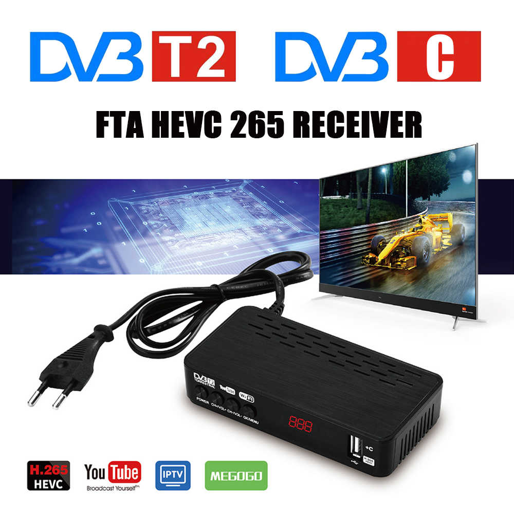 FTA DVB T2 HEVC 265 TV Empfänger DVB-C Digital TV Tuner Decoder DVB-T2 Volle HD H.265 DVBT2 Set-top box Youtube IP TV Megogo USB