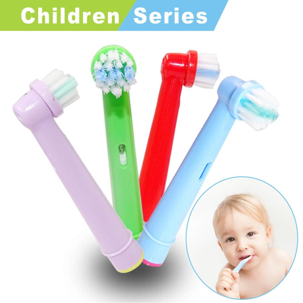 4pcs Replacement Kids Children Colorful Tooth Brush Heads/Nozzle for oral B Pro-Health Stages Electric Toothbrush 3744,D16 image