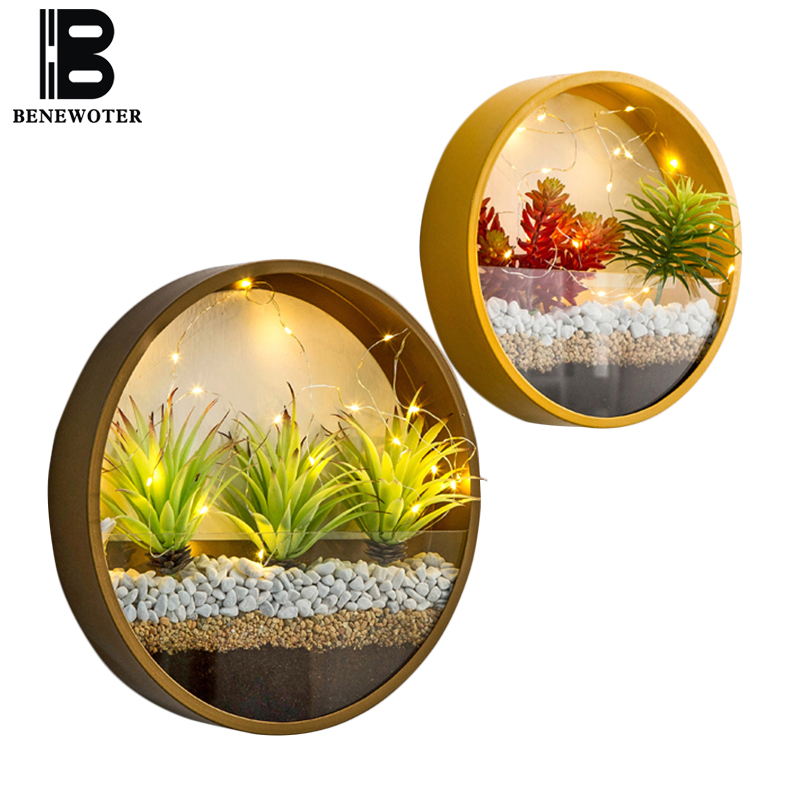 Modern Round Iron Art Glass Wall Vase with LED Light Decor Wall Planters Home Living Room Hanging Flower Pot Succulent Plant Pot|Flower Pots & Planters| |  - title=