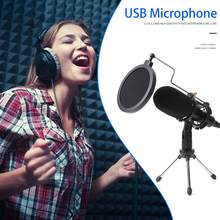 USB Microphone Wired Condenser for Phone PC Skype Studio Microphone Studio Mic with Stand Clip USB Microfone Karaoke Mic(China)