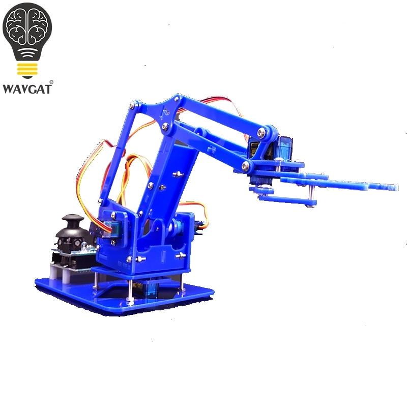Sg90 mg90s 4 dof unassembly acrílico braço mecânico robô manipulador garra para arduino maker aprendizagem diy kit robô