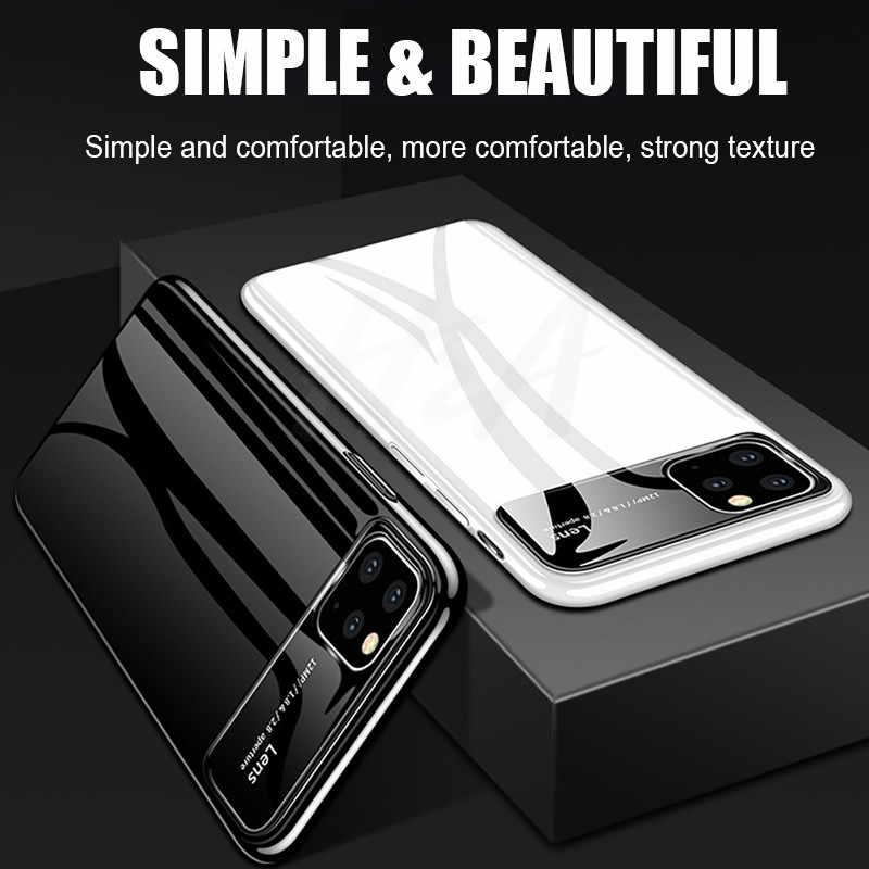 H & יוקרה מראה דק במיוחד מקרה טלפון עבור iPhone 11 פרו מקסימום X נגד לדפוק מגן קשה PC & זכוכית X Xr Xs מקס Fundas קאפה