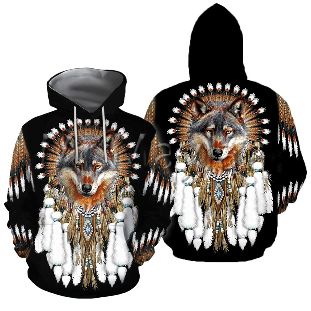 Native Indian Wolf 3D Hoodies Men Vintage Streetwear Jacket Retro Pullovers Sweatshirts Outwear New Gothic Tops Clothes