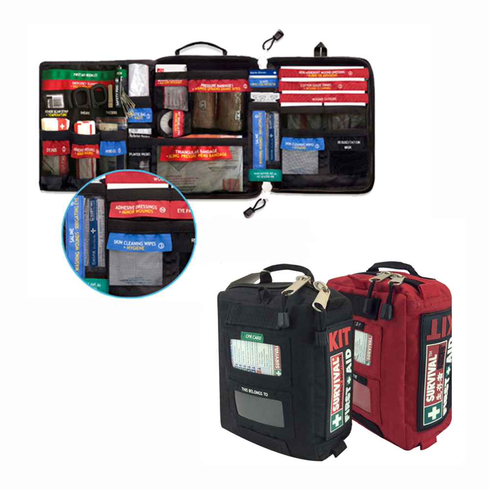 SURVIVAL Professional First Aid Kit Plus Emergency EMT Medical Supplies With Labelled Compartments For Camping Outdoor Hiking