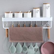 Space Aluminum White Hanging Bathroom Holder Kitchen Shelf  Storage Rack Kitchen with holder hooks Corner Storage Rack Organizer