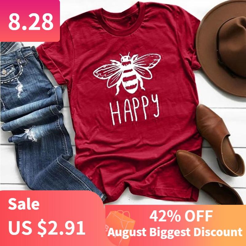 Tshirt Women Short-Sleeve Bee-Happy-Print Loose Round-Neck Femme Plus-Size Beach Cotton