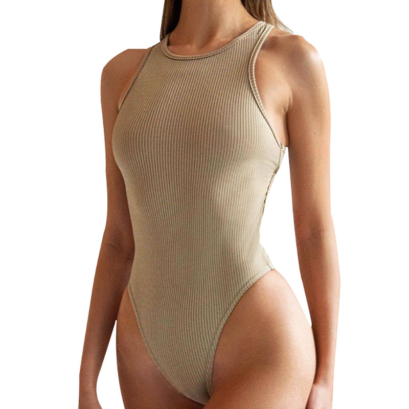 Sleeveless Vest Solid Color Bodysuit Women Sexy Leotard Tights Vest Bodysuits Female Halter Elegant Top 2020 New