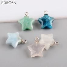 BOROSA Star Shape Natural Chalcedony Amazonite Necklace Pendan Beads Stone Jewelry Wholesale Accessories WX1547