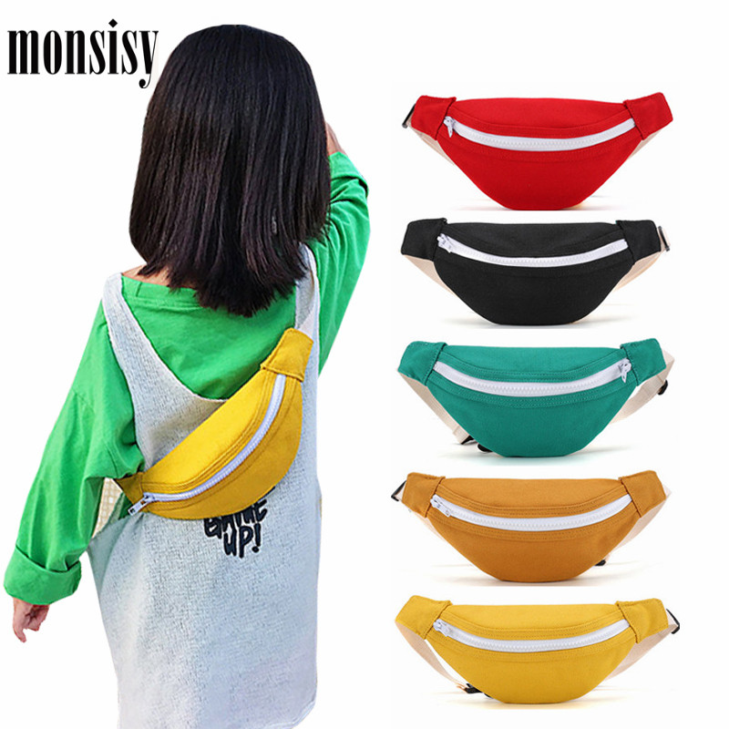 Monsisy Belt Bags For Children Canvas Waist Bags Boys Girls Fanny Packs Kids Chest Bags Solid Baby Phone Coins Purse Wallet Bags