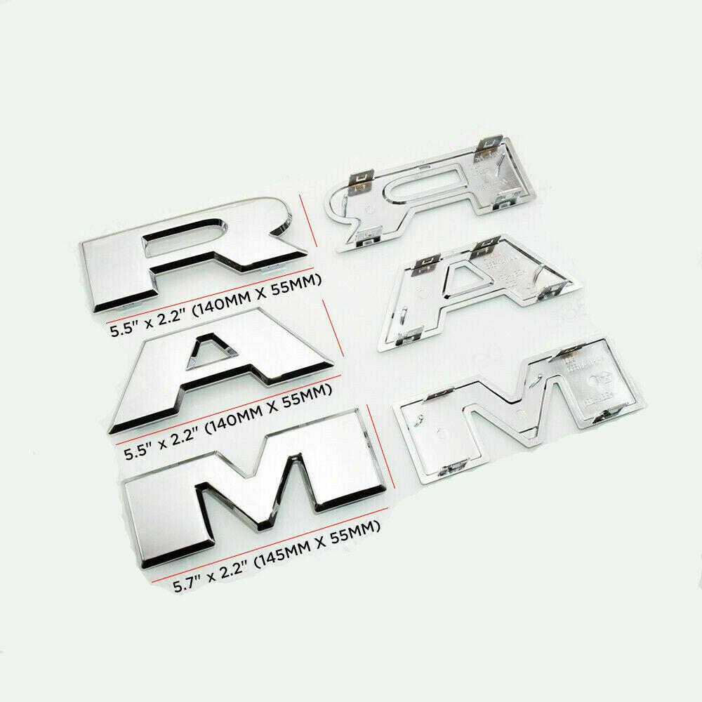 1GM Dodge Ram Hood Head Chrome Metal Emblem Badge Decal Sticker Black Trunk Door