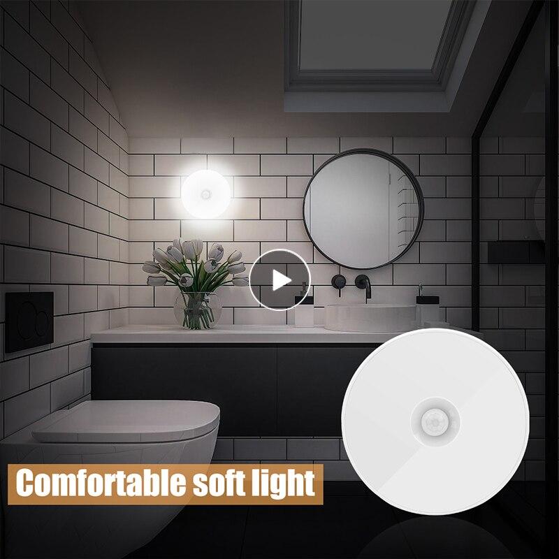 Светодиодный ночсветильник с датчиком движения, энергосберегающая умная Индукционная лампа с USB-зарядкой для спальни, ванной, лестницы, шир...