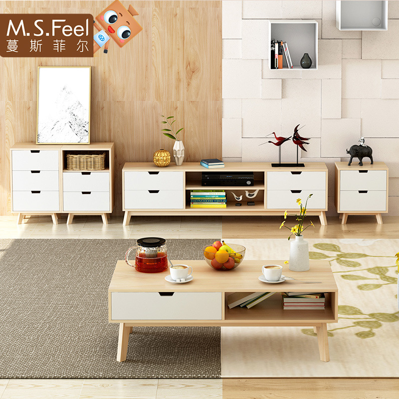 Man Patriarch Northern European-Style TV Cabinet Modern Minimalist Solid Wood Small Apartment Packaged Combination Living Room C