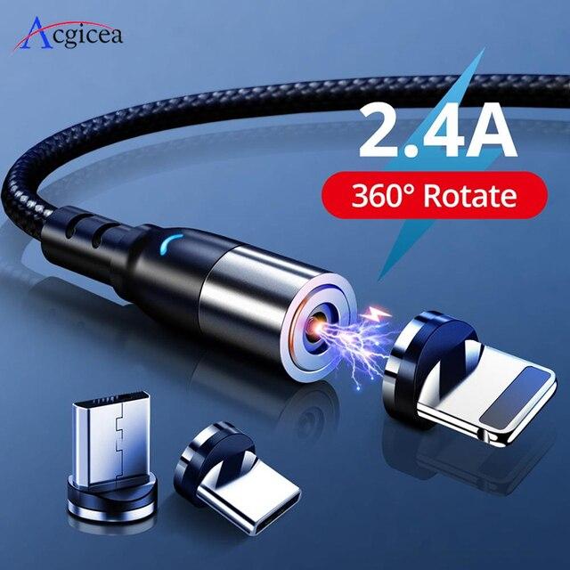 2.4A מגנטי מיקרו USB סוג C כבל עבור iPhone 11 Xiaomi אנדרואיד נייד טלפון מהיר טעינת USB כבל מגנט מטען חוט כבל