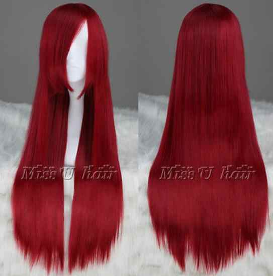 Free Shipping FAIRY TAIL Erza Scarlet Long Dark Red Cosplay Party Wig Hair