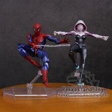 Revoltech 시리즈 NO.002 스파이더 맨/NO.004 Gwen Stacy Spider Gwen PVC 액션 피규어 소장 모델 장난감 15cm