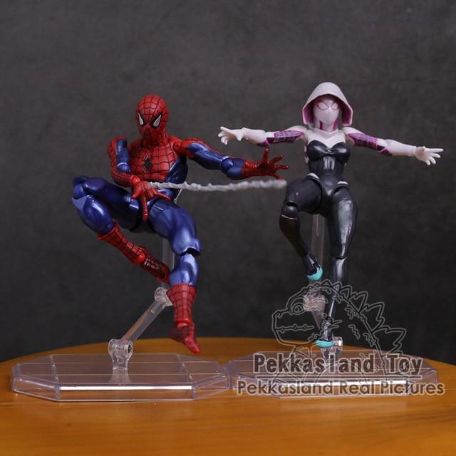 Revoltech seria NO.002 Spiderman / NO.004 Gwen Stacy pająk Gwen pcv figurka Model kolekcjonerski zabawka 15cm