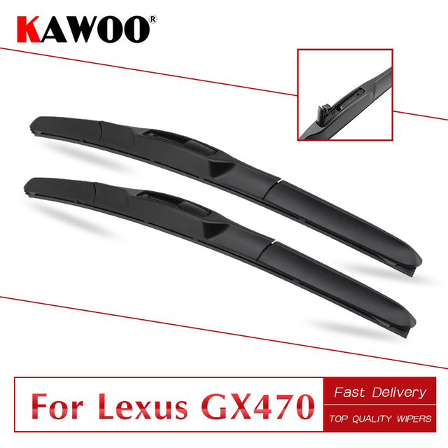 KAWOO For Lexus GX470 2003 2004 2005 2006 2007 2008 2009 Fit U Hook Arm Auto Soft Rubber Windcreen Wipers Blades Car Styling