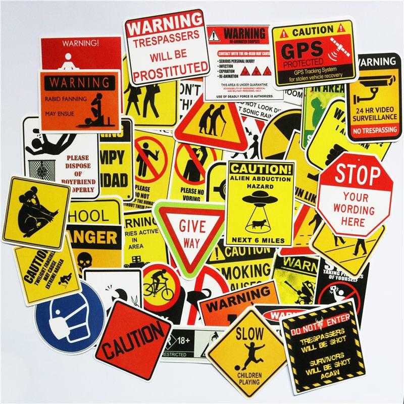 TD ZW 50 PCS Warning Stickers Danger Banning Signs Reminder Waterproof Decal Sticker To DIY Laptop Motorcycle Luggage Snowboard