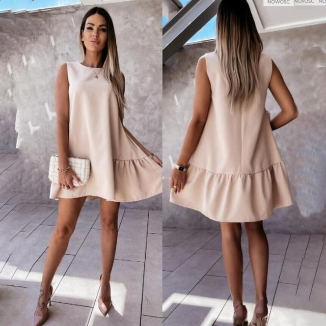Summer Women Mini Dress Casual Loose Beach Party Dress Big Ruffle Sleeveless Sundress Female 2021 Fashion Oversize Hem Dresses 6