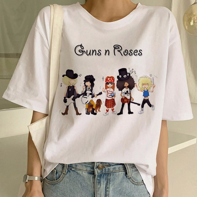 Newest Gun N Roses Tshirt Women Funny Streewear Punk Rock Music T Shirt Women Tshirt Female Tee Shirt Femme Tops Women Clothes