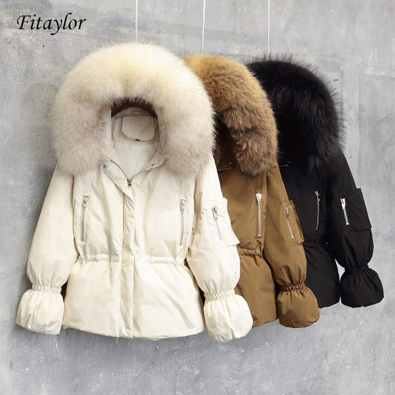 Fitaylor 2019 Women Winter Jackets White Duck Down Large Natural Raccoon Fur Hooded Parkas Slim Warm Female Coat Snow Outwear