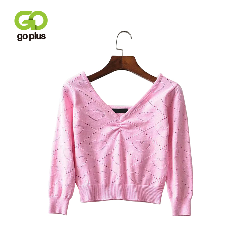 GOPLUS Korean Style Sweaters For Women Jumper Love Heart Pink V-neck Pullovers Kleding Vrouwen Abrigos Mujer Invierno 2019 C8984