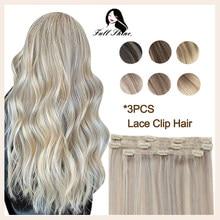 Grampo completo do laço do brilho em extensões do cabelo humano ombre cor 3 pces 50g 100% máquina remy grampo de cabelo humano em extensões de cabelo
