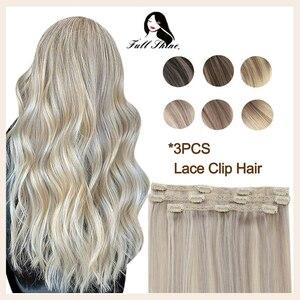 Полный блеск кружева клип на человеческие волосы для наращивания Омбре цвет 3 шт 50 г 100% машина Remy человеческие волосы заколки для наращивани...
