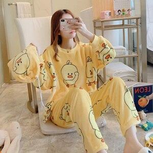 Image 2 - Winter Women Cute Flannel Pajamas Set Cartoon Little Yellow Duck O Neck Sleepwear Thickened Warm Cotton Pyjamas Home Clothing