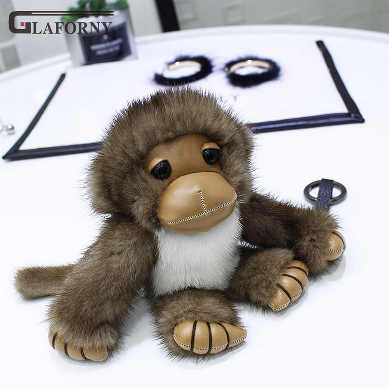 2019 Glaforny porte-clés vison cheveux gibbon en peluche pendentif porte-bonheur singe ornement sac fourrure porte-clés personnalisé voiture porte-clés