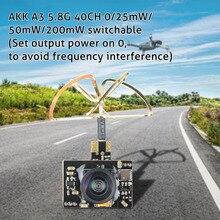 Akk A3ミニ5.8ghz 0/25mw/50mw/200 200mwのfpvトランスミッタマイクロaioカメラ
